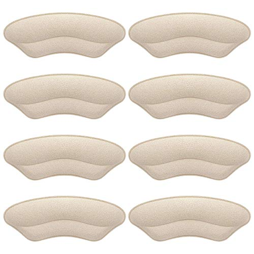 Makryn Premium Heel Grips Liner for Men Women Back of Heel Cushions Pads Insert Prevent Too Big Shoe from Heel Slipping Blisters Filler for Loose Shoe Fit(Leather+Fabric/Pale Apricot)