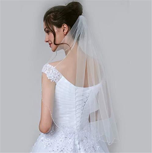 He-shop Voile de Mariage, Bijoux élégants Simples mariée Se marier Accessoires de chapellerie avec Peigne Tulle Dentelle Ruban Bord pour Le Mariage Partie de Poule
