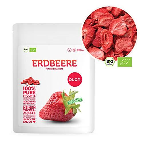 BUAH® Gefriergetrocknete Erdbeeren BIO I Getrocknete Erdbeeren ohne Zucker I 100% Gefriergetrocknet Früchte (Vegan Glutenfrei Laktosefrei) Getrocknete Früchte Snacks (70g) in DE hergestellt