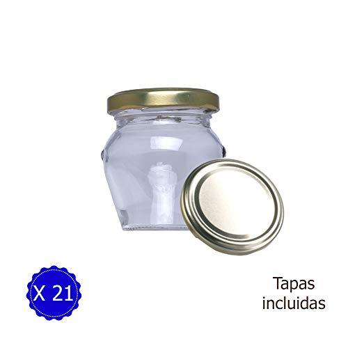 Tarro de Cristal con Tapa para chuches Cocina Regalo de Boda comuniones obsequios Botes Cristal diseño Exclusivo Orcio 106 ml (21 Unidades)