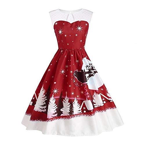 YWLINK Damen Eine Linie Jahrgang Weihnachten Druckt Spitze Ärmellos Swing Kleid Rockabilly UnregelmäßIg Faltenrock(M,Weinrot)