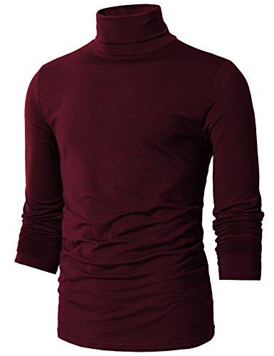 H2H Mens Basic Slim Fit Turtleneck Knit Sweater Wine US S/Asia M (CMTTL098)