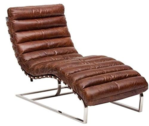 Casa Padrino Luxus Echtleder Vintage Oviedo Liege/Sessel Cigar Braun - Leder Sessel Art Deco Lounge Relax Sessel