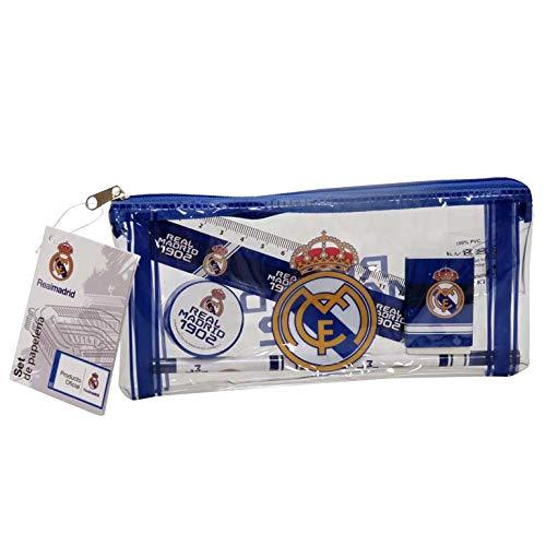 Real Madrid Portatodo con Material Escolar Estuches portaflautas, Unisex niños, Blanco, Estándar