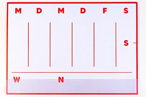 codiarts. Vade de escritorio MINIMAL A3 papel con práctica tira protectora, planificador rojo rubí para oficina, hogar, oficina y como regalo