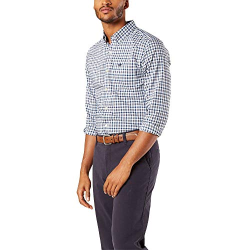 Dockers - Camicia da uomo a maniche lunghe, in tessuto scozzese - blu - S