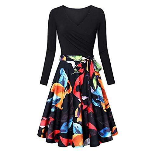 Xmiral Damen Kleid Langarm V-Ausschnitt Vintage Elegant Ausgestellte Kleider Mit Gürtel(M,Schwarz 2)