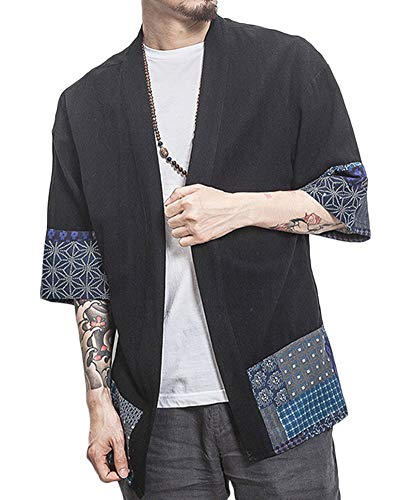 Uomo T-Shirt Cardigan Unisex Stampato Maglietta con Tasche Kimono Giapponese Casual Moda Primavera-Estate Nero M