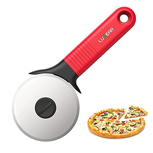 Luxear Taglia Pizza Acciaio Inox Rotella Tagliapizza Professionale【Versione Aggiornata】Tagliapizza con Affilata Lama 9x20cm Rotella Pizza con Salvalama e Manico Antiscivolo, Rosso