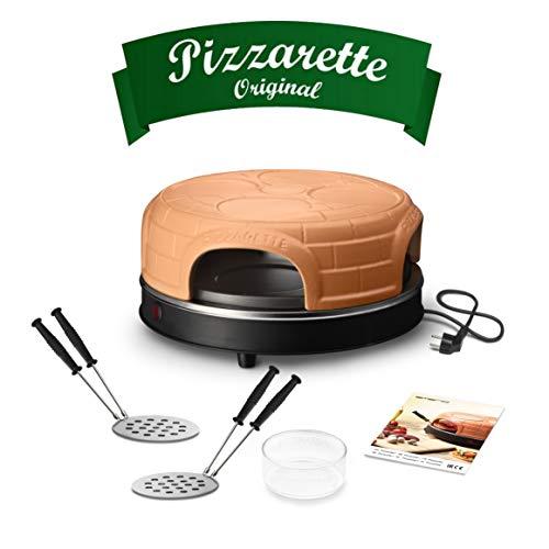 Emerio Pizzaofen, PIZZARETTE das Original, handgemachte Terracotta Tonhaube, neues PRE-BAKE Design, für Mini-Pizza, echter Familien-Spaß für 4 Personen, PO-115847.1