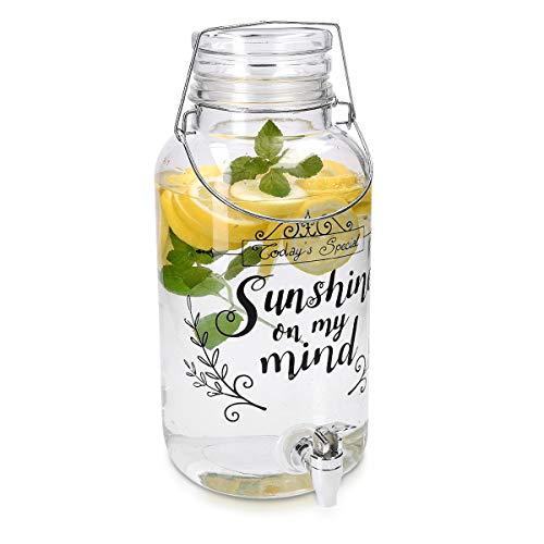 Navaris Getränkespender 5,5 Liter aus Glas - mit Zapfhahn Deckel und Bügelverschluss - Glasbehälter für warme und kalte Getränke - Wasserspender
