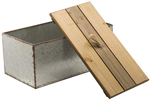 Rustic Galvanized Metal Storage Box with Wooden Lid - Country Style