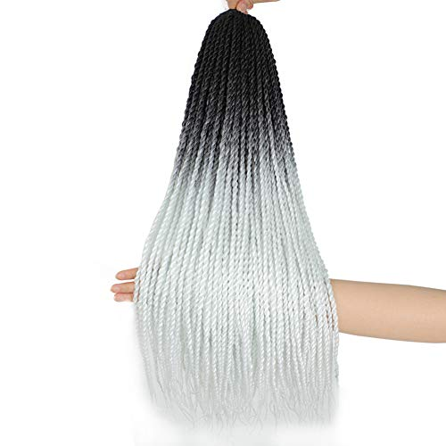 6Pack Senegalese Twist Crochet Hair Ombre White Box Braids Synthetic Hair Extensions 30Roots/Pack Small Havana Twist Crochet Hair 24inch(1B/White, 600g/Lot)