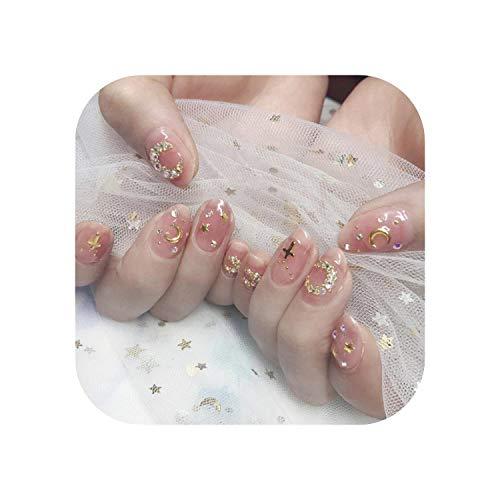 24 Stück gefälschte Nägel mit Designs Falsche gefälschte Nägel Künstliche Finger Beauty Stiletto Nagelspitzen mit Kleber DIY Shining 3D Strass-