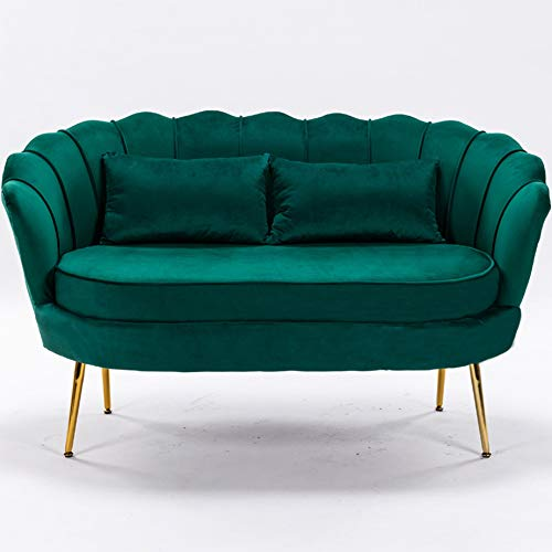 LZWZW 2 Seater Sofa Living Room Velvet Loveseat Couch with Metal Leg Armrests Sofa Chair Lounge Accent Chairs (Drak Green 2 seat sofa)