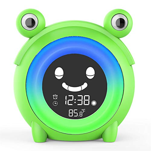 Kids Alarm Clock, Children's Sleep Trainer Clock, Cute Digital Clock for Bedroom, Wake Up Light Alarm Clock with 5 Colors Night Light, NAP Timer, Snooze, Indoor Thermometer
