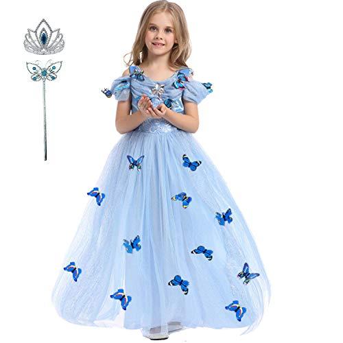 LiUiMiY Vestido de Princesa Disfraz Niña Tul Azul para Carnaval Cumpleaños Cosplay...