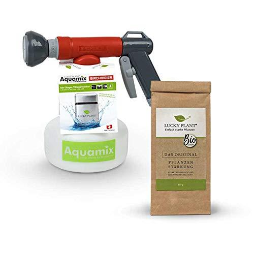 Lucky Plant Aquamix Set | 1x Düngermischgerät + 1x125 g Pflanzenstärkungsmittel | Gießen und Stärken in einem Arbeitsgang