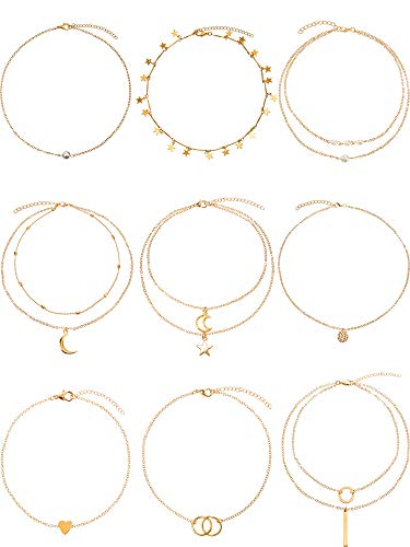 BBTO 9 Pieces Gold Layering Chain Choker Necklace Layered Pendant Statement Necklace for Women Girls (Style B)