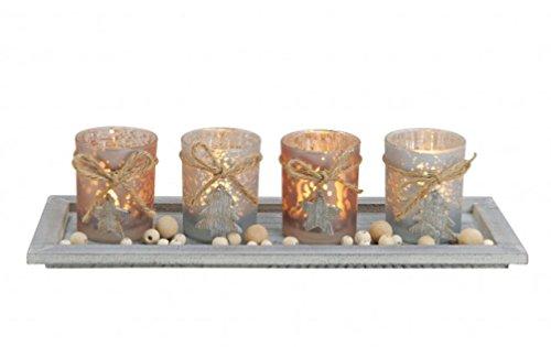 meindekoartikel Windlicht-Set 5-teilig B/H/T Tablett mit Teelichthalter und Holzperlen