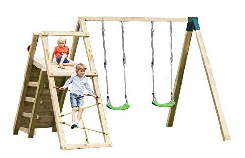 MASGAMES   Parque Infantil DOLOMITAS Challenger L   Columpio de Dos plazas   Zona de Escalada con Red para trepar + Pared de Escalada   Uso doméstico  