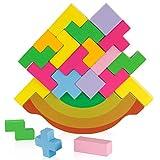 Fovely Rainbow Block Set, 21 Piezas, Juego de Equilibrio de Bloques de apilamiento de Madera - Tetris Puzzle Balancing Toys para niños Juguetes educativos Montessori