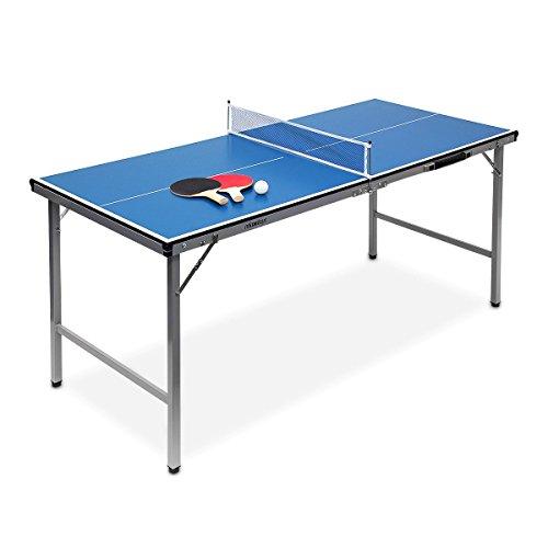 Relaxdays Mesa Ping Pong Exterior Plegable con Red, Pelotas y Raquetas, Madera-Metal, Azul, 71 x 67 x 150 cm