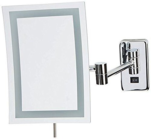 Jerdon JRT710CLD Wall Mount Rectangular Direct Wire Makeup Mirror, Chrome Finish, 6.5' x 9'