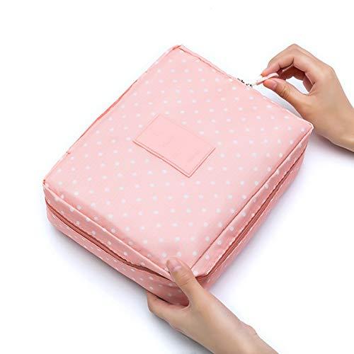 PoplarSun Sac cosmétique Voyage Multifonction Femmes Maquillage Sacs de Toilette Organisateur étanche Femme de Stockage Maquillage Multi Cas (Color : Pink Dots)