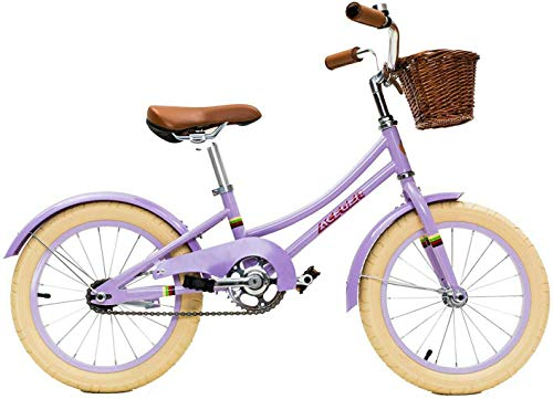 ACEGER Girls Bike with Basket for Kids 4 to 6 Years Old, 16 inch with Training Wheels and Kickstand(Purple, 16 inch)