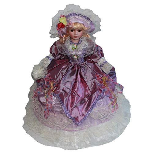 perfeclan Bambola di Porcellana con Ombrello Vintage da 45 Cm con Capelli Ricci Dorati, Regalo Creativo Valentin per Ragazza, Collezione di Decorazioni per La V