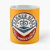 Hammer Head - Taza de café de cerámica de mármol blanco