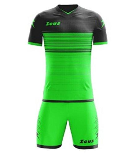 Zeus Modèle Kit Elios – Ensemble maillot à manches courtes et short., Verde fluo - nero, Large