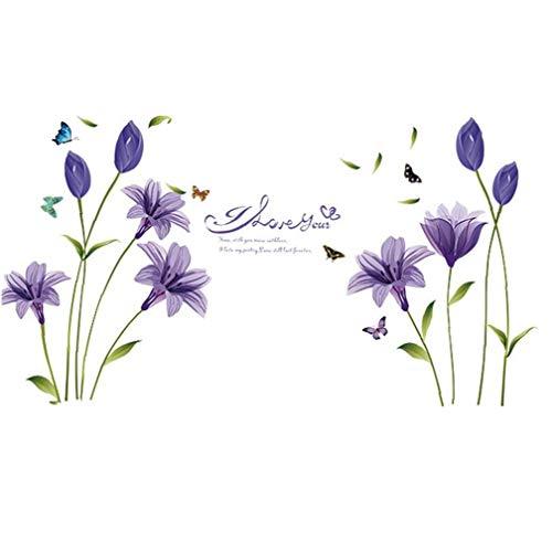 linjunddd Blumen Wandaufkleber Lily Wandtattoo Tapeten Peel-Stick Removable Lila für Wohnzimmer Schlafzimmer für HauptGardening