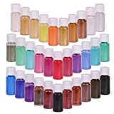 SEISSO 32 Colors Mica Powder, Mica Pigments Shimmery Powder in Jars, Epoxy Resin for Bath Bomb, Lip Gloss, Soap Making Supplies Powder Pigments for Slime, Acrylic Paints Set(5g/0.18oz Each Color)