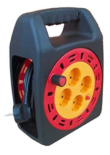 Cable alargador con enrollador 3x1,5mm (4 tomas, 15 metros) Negro