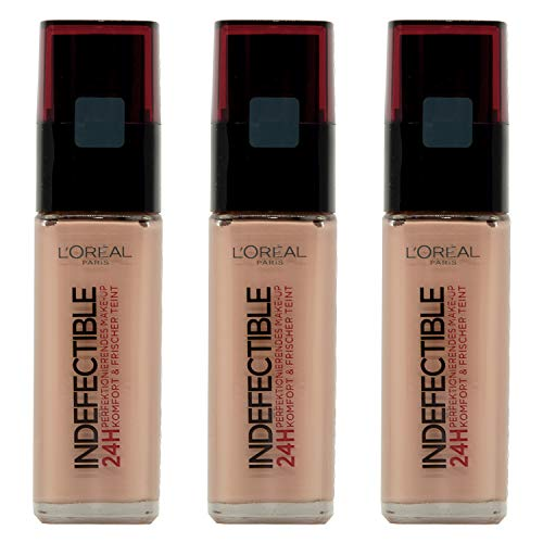 3x L'Oreal Make-Up Foundation 30ml Indefectible N235 Honey (3x 30ml)