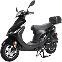 X-PRO Maui 50cc Moped Scooter Gas Moped Scooter Motorcycle 50cc Adult Scooter Aluminum Wheels (Black)