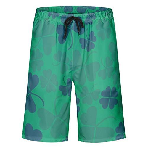 kikomia Herren Badehose Grün Klee Blätter Nahtlose St. Patrick Druck Tribal Surf Badeanzug mit Taschen Mesh Futter White 4XL