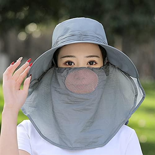 LYMZZY Sombreros de Sol para Mujer Estilo Cubierta Cara Sol Sombrero Verano al Aire Libre línea té Recoger Cubierta Cara Sol Sombrero Grande Borde Montando Sol Sombrero