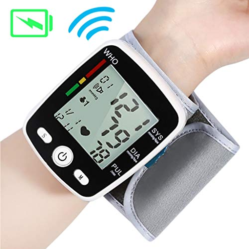 Voice Wrist Digital Blood Pressure Monitor Automatic Tonometer Meter USB Charge Wrist LCD Display Voice Heart Rate Monitor Best Gifts for Parents