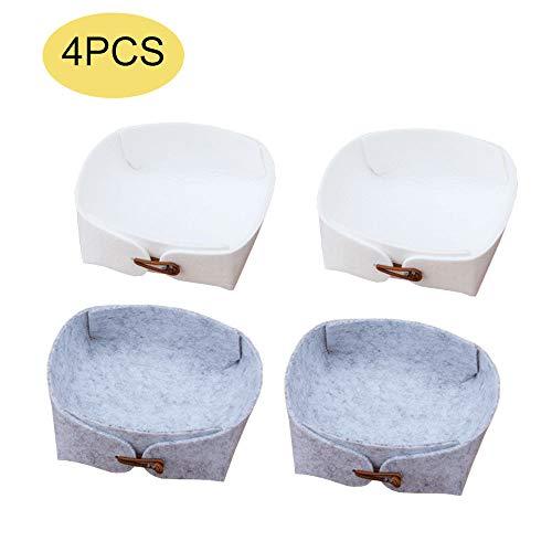 Kitchen-dream 4 PCS Fieltro Cestas de Almacenamiento Cestas de Almacenamiento Plegables Organizador Contenedor de Almacenamiento para Maquillaje, Armario, baño, Dormitorio - Blanco, Gris