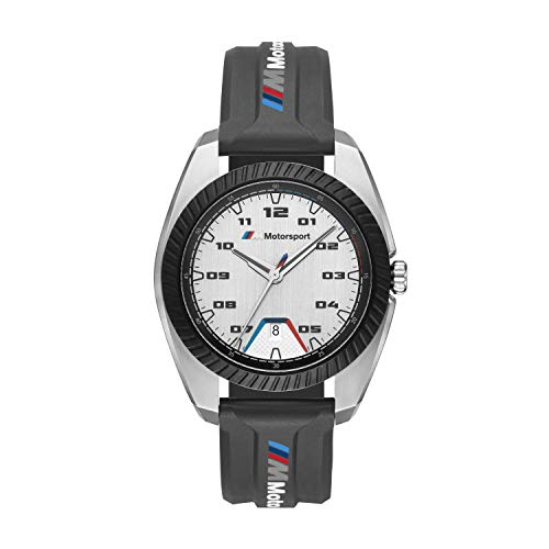 Reloj de Cuarzo de Acero Inoxidable BMW M Motorsport con Correa de Silicona Negra para Hombre -BMW1001
