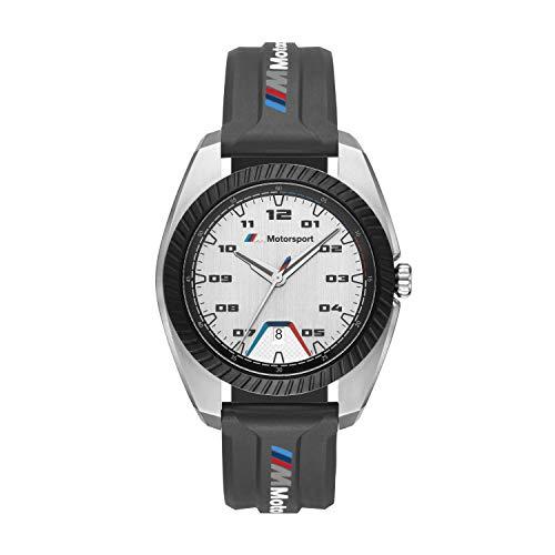 BMW M Motorsport Edelstahl Quarzuhr mit schwarzem Silikonarmband für Herren -BMW1001