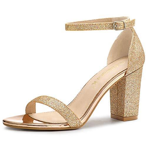 Allegra K Women's Glitter Ankle Strap Chunky Heels Sandals Gold 8 M US