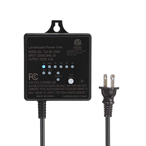 DEWENWILS 60W Outdoor Low Voltage Transformer with Timer and Photocell Light Sensor, 120V AC to 12V DC, Weatherproof, Specially for LED Landscape Lighting, Spotlight, Pathway Light, ETL Listed