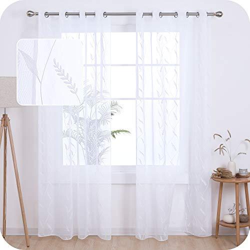UMI. by Amazon 2 Stück Voile Gardinen Halbtransparent Voile Vorhang mit Ösen Fenster Vorhänge für Wohnzimmer 245x140 cm Weiß