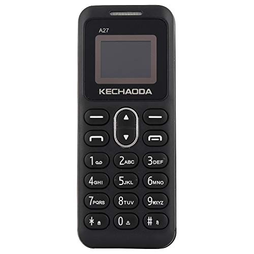 KECHAODA A27 Keypad Dual Sim Mini Mobile Phone with External Memory Slot 0.66 inch Display Only Mobile Phone & Charging Cable in Box, Battery,No Charger - Black
