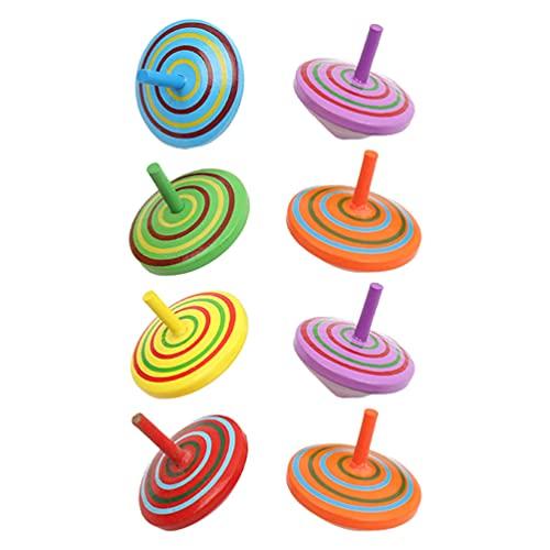 TOYMYTOY Giroscopios de Madera Pintados a Mano de 8 Piezas Juguetes de Madera Juguetes Educativos para Niños Juegos Familiares