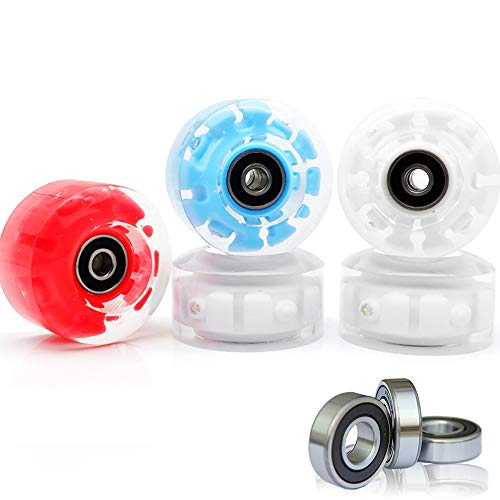 VAKA Luminous Light Up Quad Roller Skate Wheels with BankRoll Bearings Installed 4 Pack - Pop Quad Roller Skate Wheels 32mm x 58mm (Red)